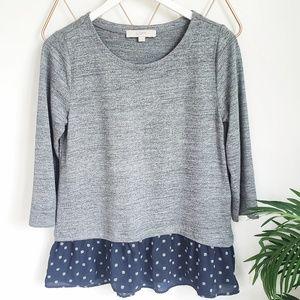 LOFT, Gray Mix Media Skirted Peplum Sweater, S